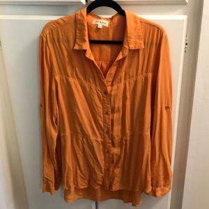 Flowy orange cloth & stone button down top sz XL